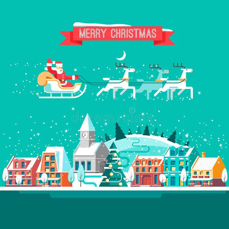 Cityscape De stad in Kerstmis Stedelijk Landschap vector illustratie
