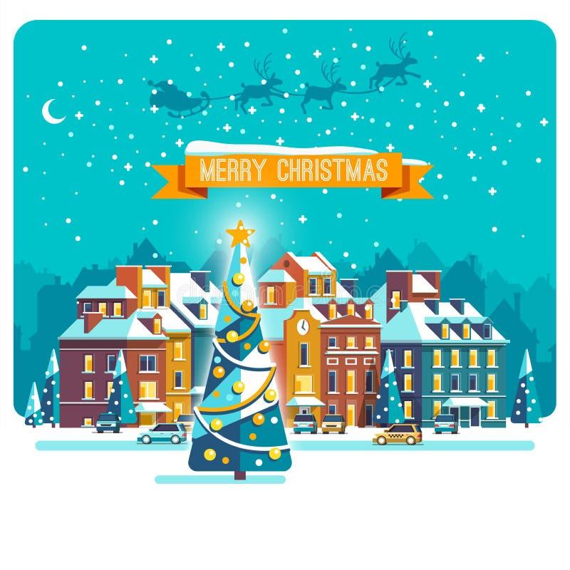Cityscape De stad in Kerstmis Stedelijk Landschap Vector vlakke illustratie stock illustratie