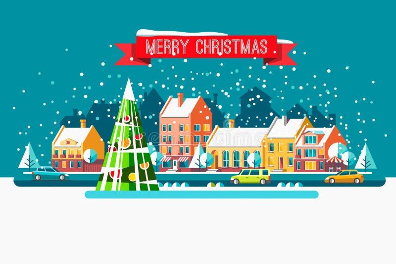 Cityscape De stad in Kerstmis Vector vlakke illustratie stock illustratie
