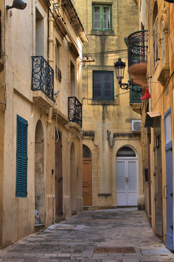 Cityscape in de stad van Rabat in Gozo stock foto's