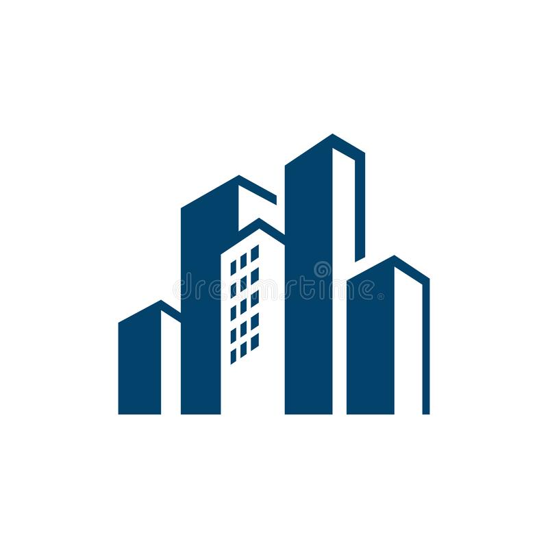 Cityscape design corporation of building Logo for Real estate business company απεικόνιση αποθεμάτων