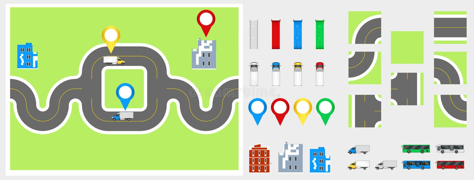 Cityscape Design Elements with road, transport, buildings, navigation pins. Road Map Vector illustration eps 10. May be used for v. Cityscape Design Elements royalty free stock photos