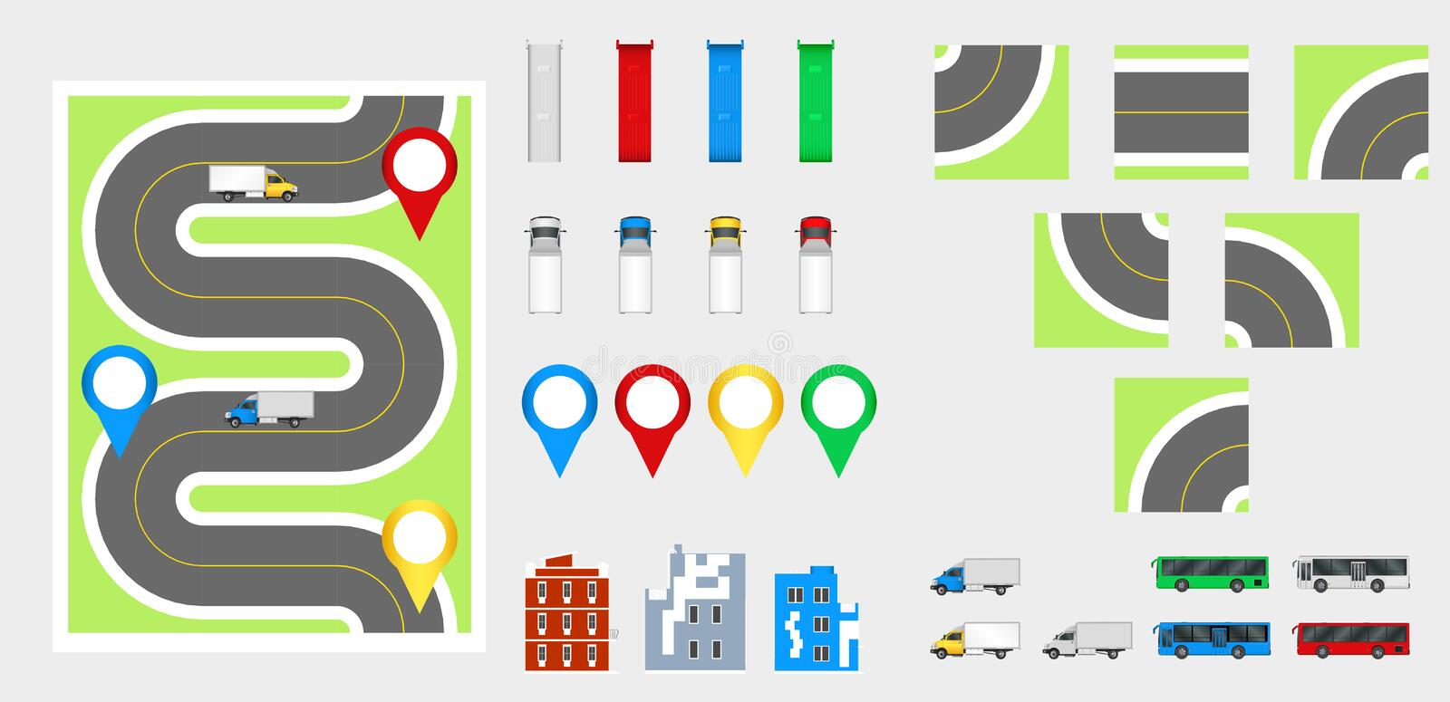 Cityscape Design Elements with road, transport, buildings, navigation pins. Road Map Vector illustration eps 10. May be used for v. Cityscape Design Elements royalty free stock image