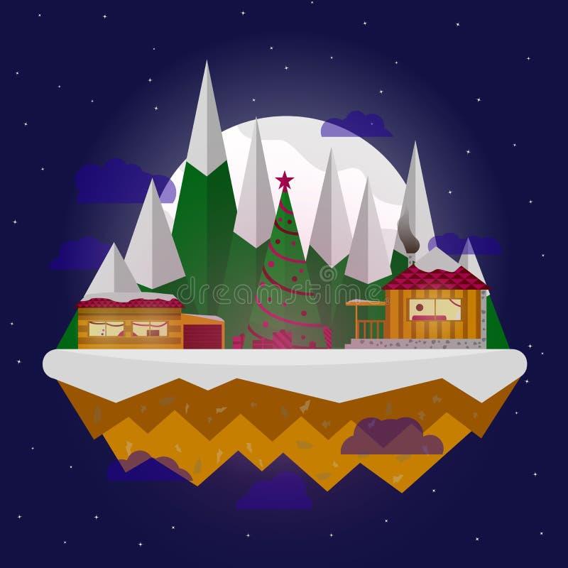 cityscape Die Stadt im Winter Städtische Landschaft Flache Illustration des Vektors Dorf des neuen Jahres vektor abbildung