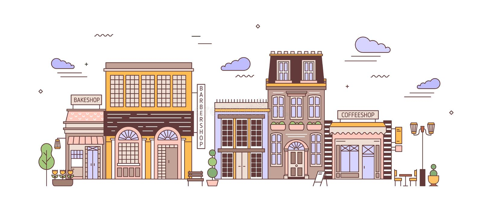 Cityscape with district of exquisite elegant residential buildings of European architecture. Urban landscape with living. Houses, bakeshop, coffeeshop. Colorful royalty free illustration