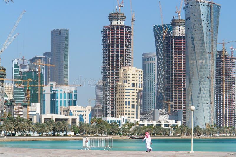 cityscape doha qatar arkivbilder