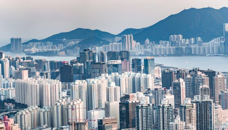 Cityscape of downtown, Kowloon, Hong Kong stock photos
