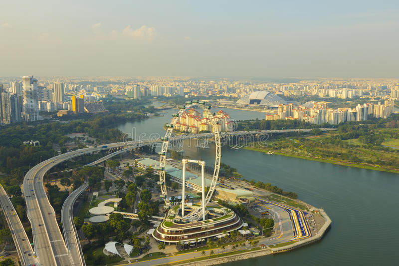 Cityscape downtown in singapore. High view Singapore flyer at Singapore royalty free stock image