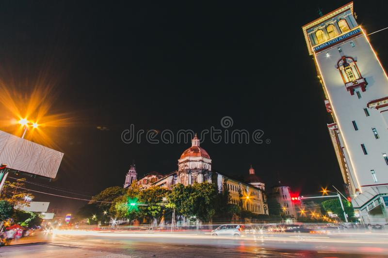 Cityscape of downtown in Yangon. At night with traffic light royalty free stock photography