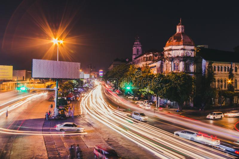 Cityscape of downtown in Yangon. At night with traffic light royalty free stock photo