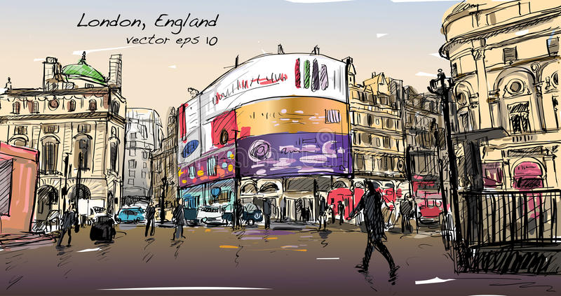 Cityscape drawing sketch in London England, show walk street at stock illustration