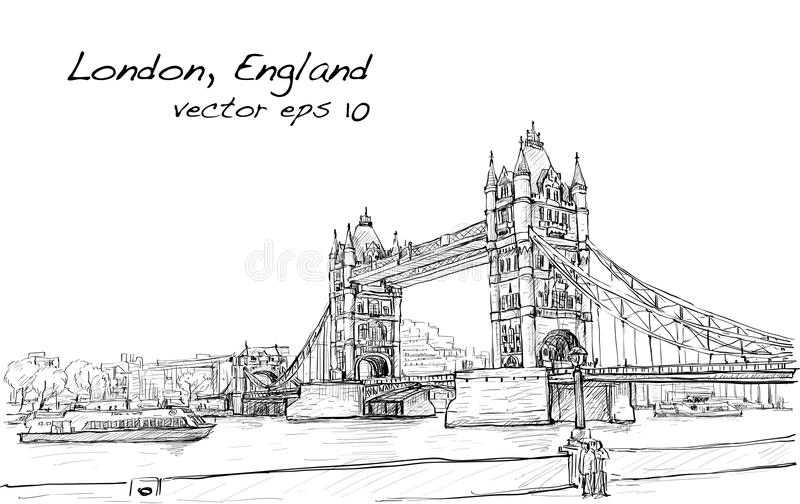 Cityscape drawing sketch Tower Bridge, London, England vector illustration
