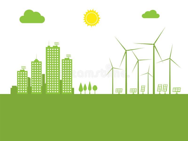Cityscape ecologie stock illustratie