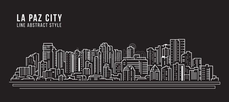 Cityscape Edificio panorama Arte Vector Diseño ilustrativo - Ciudad de La Paz libre illustration