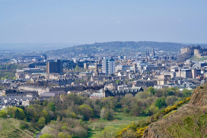 Cityscape of Edinburgh. Seen from the Holyrood Park stock image