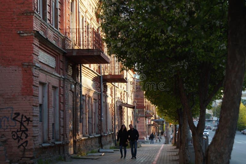 Cityscape: een sectie van Malyshev-Straat, huisvest Nr 58-56 stock foto