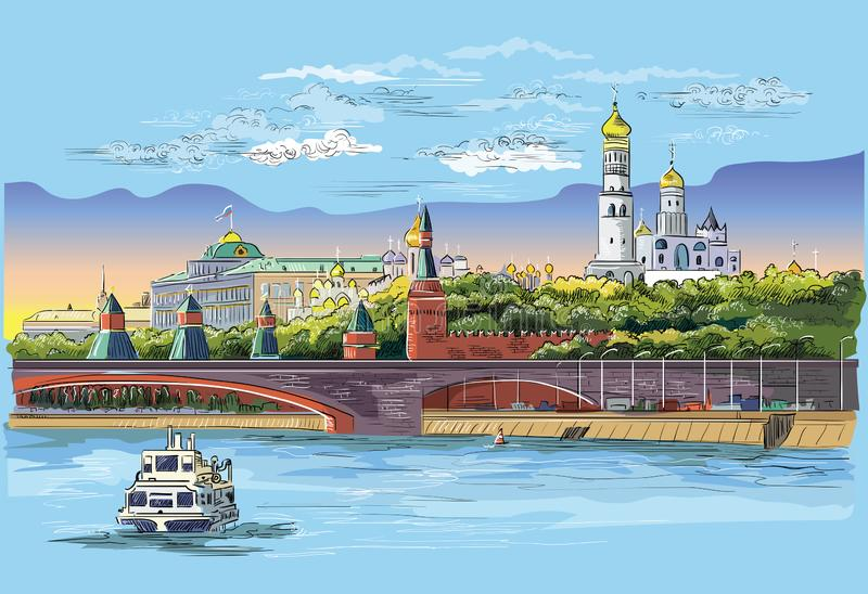 Cityscape of embankment of Kremlin towers and bridge across Moscow river Red Square, Moscow, Russia Colorful isolated vector. Hand drawing illustration royalty free illustration