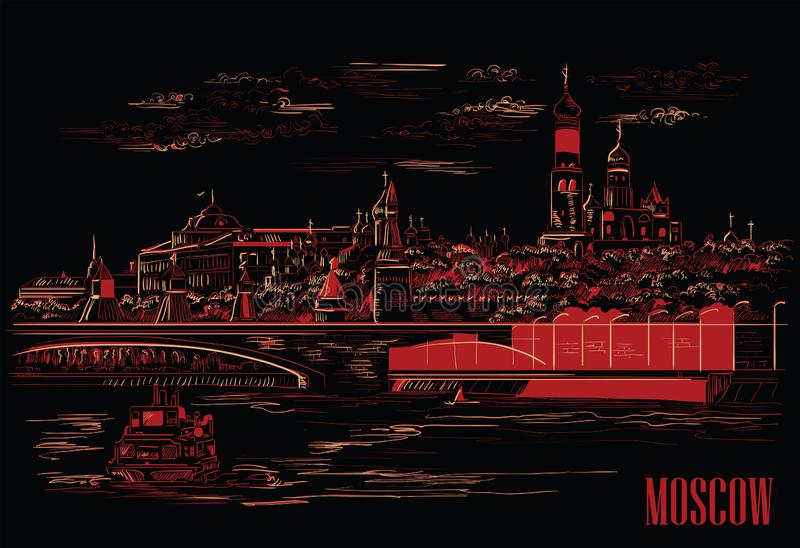 Cityscape of embankment of Kremlin towers and bridge across Moscow river Red Square, Moscow, Russia isolated vector hand drawing. Illustration in red and beige stock illustration
