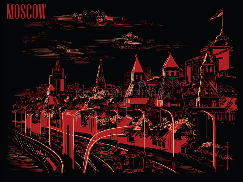 Cityscape of embankment of Kremlin towers and Moscow river Red Square, Moscow, Russia isolated vector hand drawing illustration. In red and beige color on black vector illustration