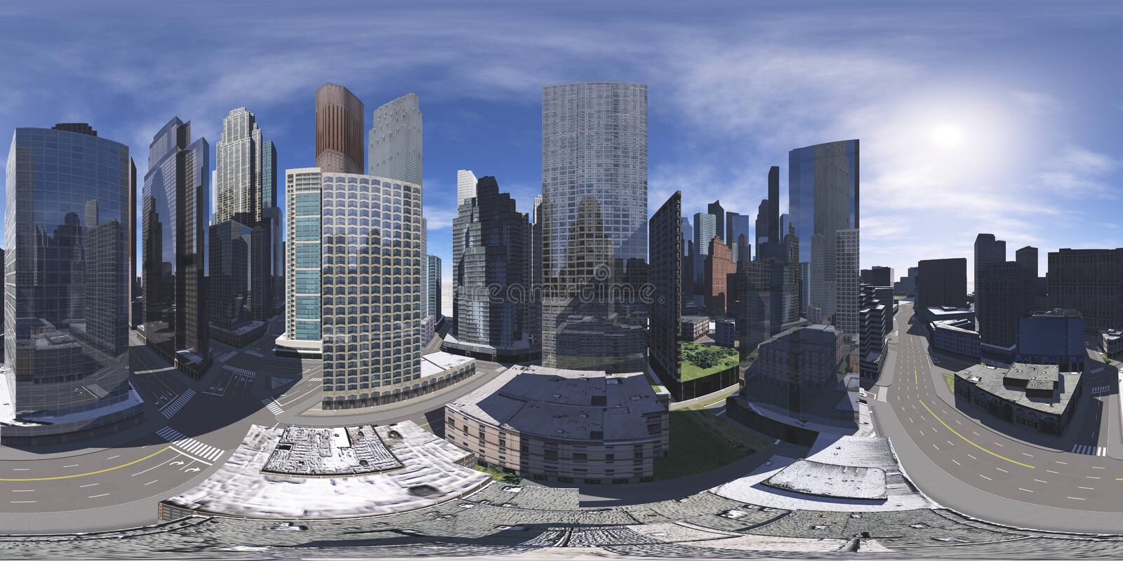 Cityscape. Environment map. HDRI map stock photo