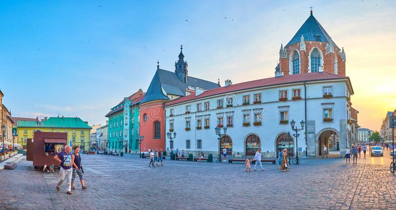 The cityscape of evening Krakow, Poland royalty free stock images