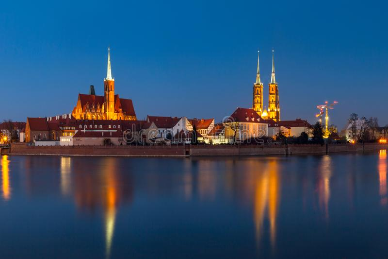 Cityscape, evening panorama - view of the city Wroclaw and its old district Ostrow Tumski. Lower Silesia Province, The Poland royalty free stock images