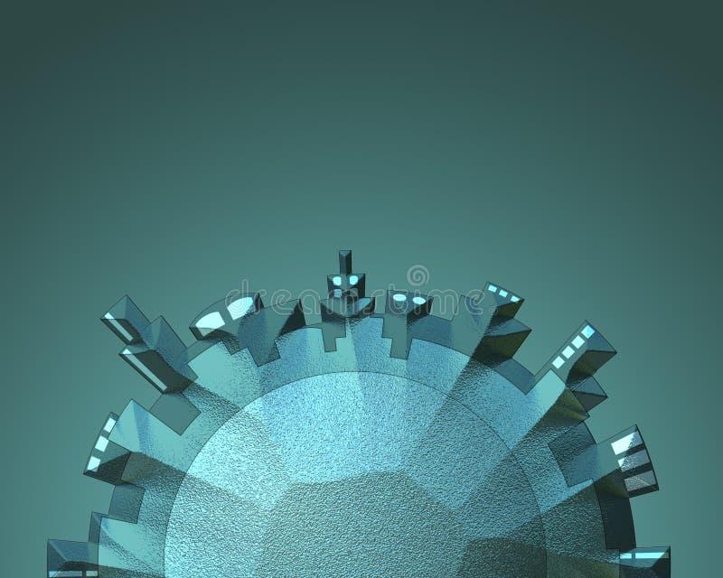 cityscape för cirkulär 3D stock illustrationer