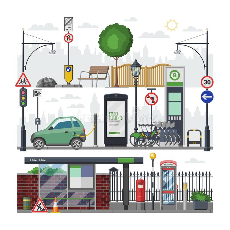 Cityscape in för isometrisk vektor för stad ställde stads- med ljusare bil för hållplatstrafik i downcitygataillustration av tran stock illustrationer