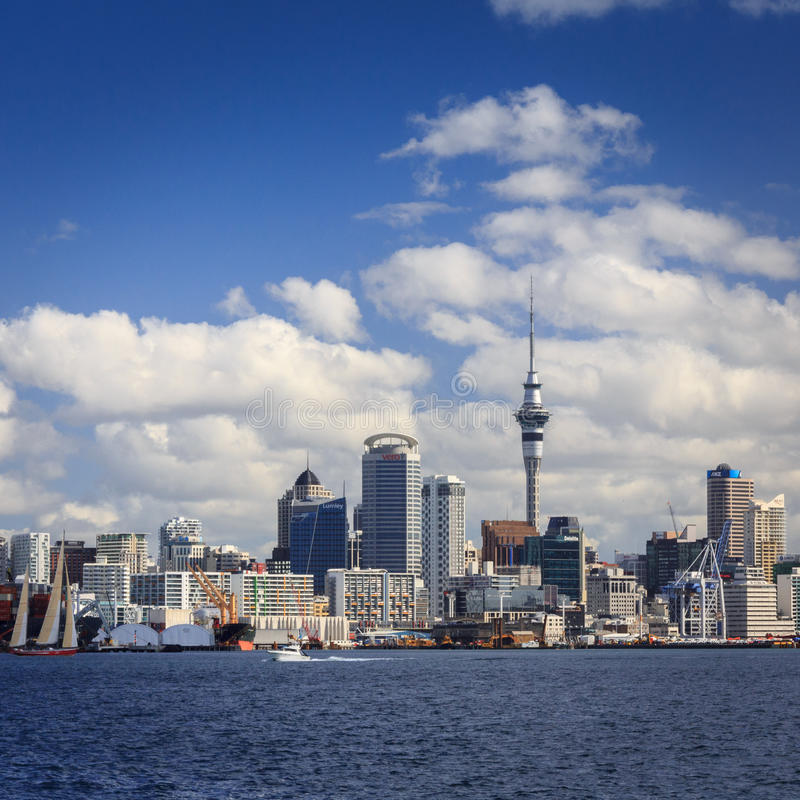 Cityscape with famous Sky Tower - New Zealand, Auckland city stock photography