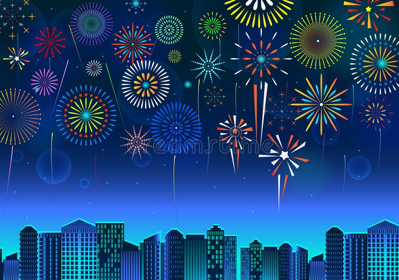 Set of fireworks festive display over the cityscape, at night blue sky scene   holiday or celebration. stock illustration