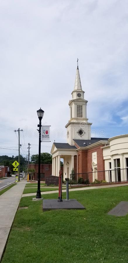 Cityscape - First Baptist Church - Ellijay Georgia Town Square. Gilmer Arts Playhouse. Scenes of the town square in Ellijay Georgia. Ellijay is the county seat stock image