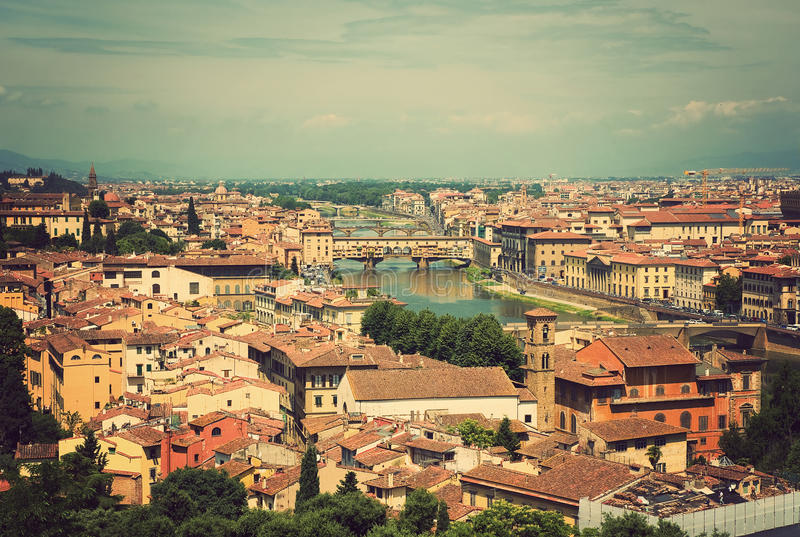 Cityscape Of Florence, Italy. View Of The City On Top Royalty Free Stock Image