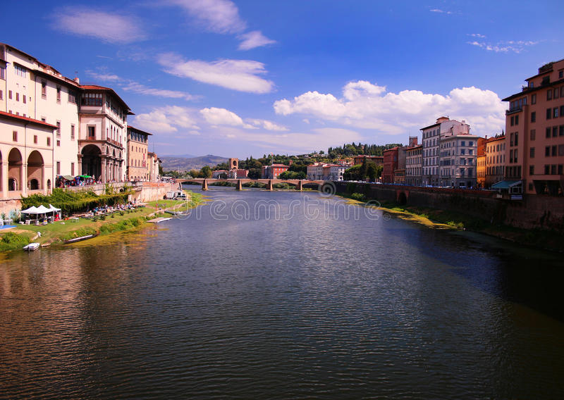 Cityscape of Florence and river Arno, Italy stock images