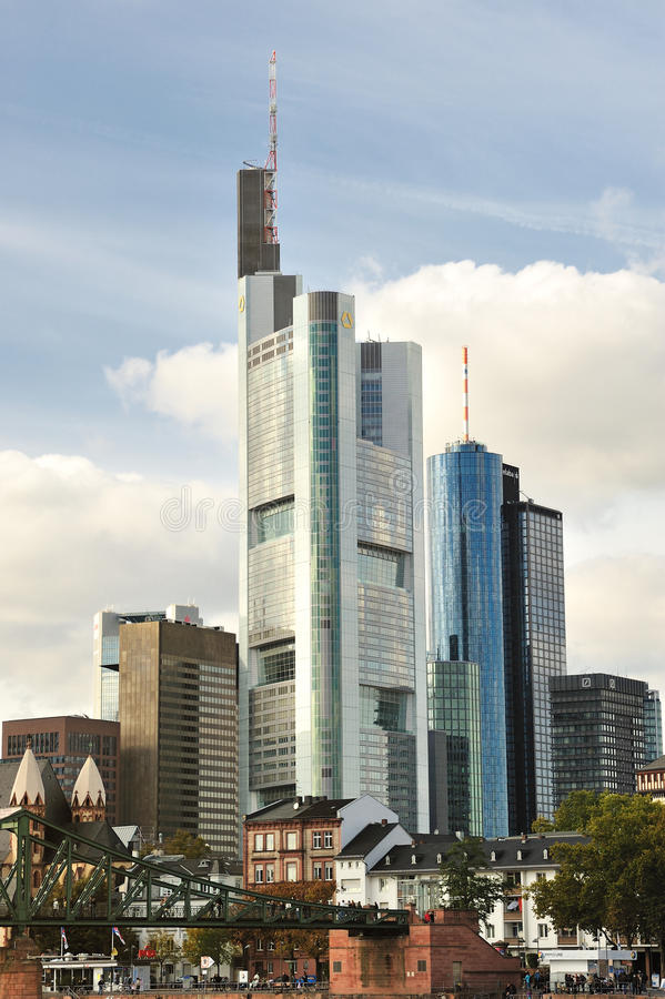 Cityscape of Frankfurt business city royalty free stock photo