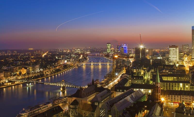 Cityscape of Frankfurt am Main city. At sunset stock images