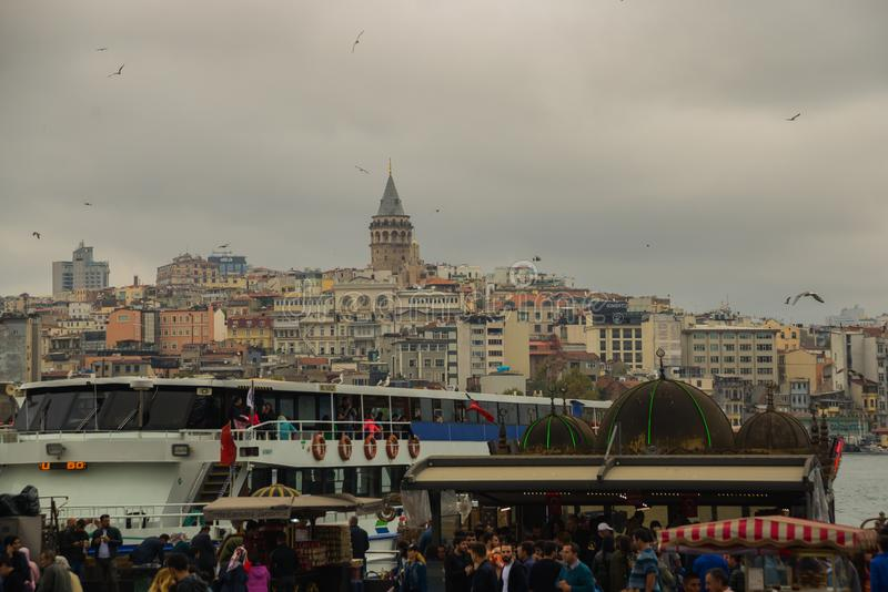 Cityscape with Galata Tower over the Golden Horn in Istanbul, Turkey royalty free stock image