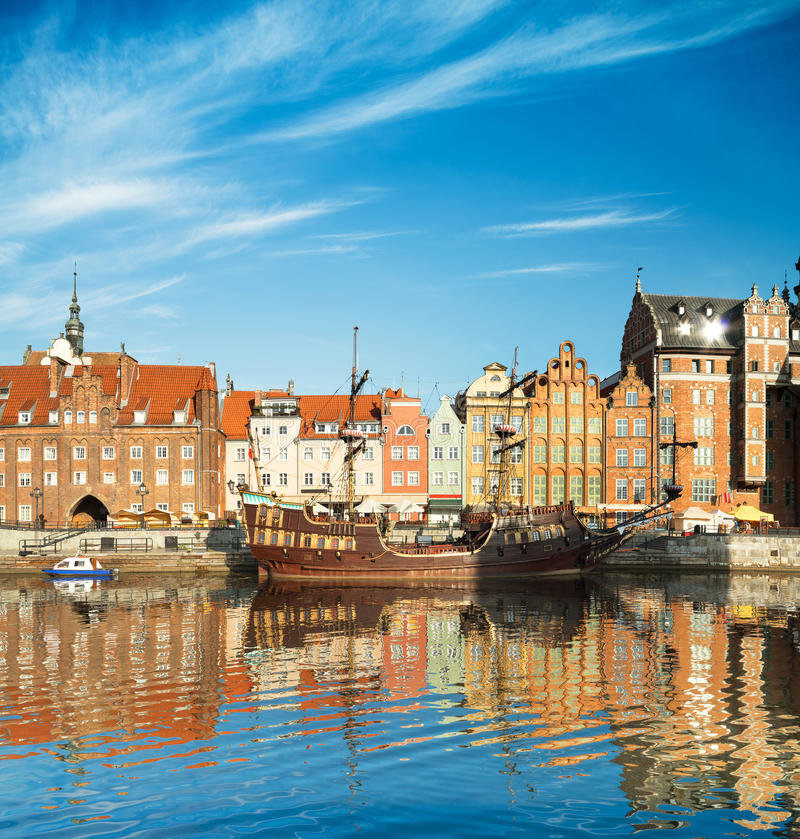 Cityscape of Gdansk in Poland stock photos