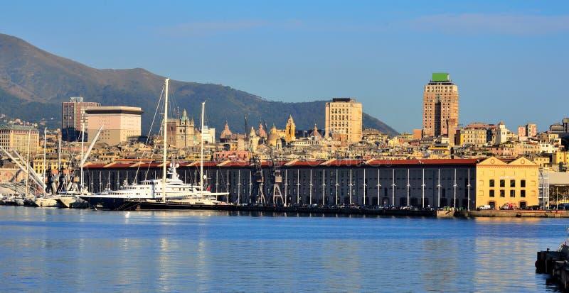 cityscape genoa italy royaltyfria bilder