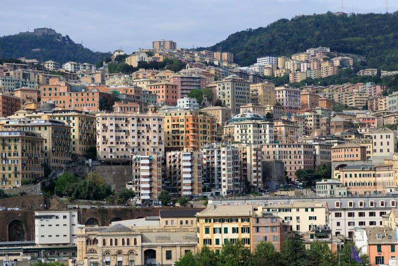 Cityscape of Genoa Italy royalty free stock photos