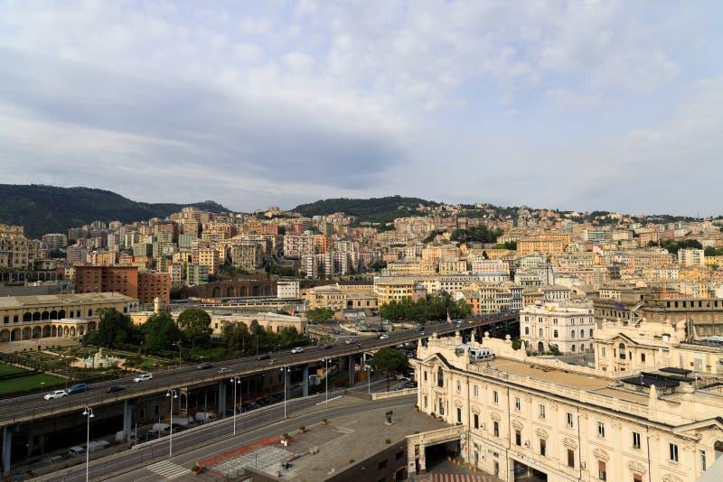 Cityscape of Genoa Italy stock image