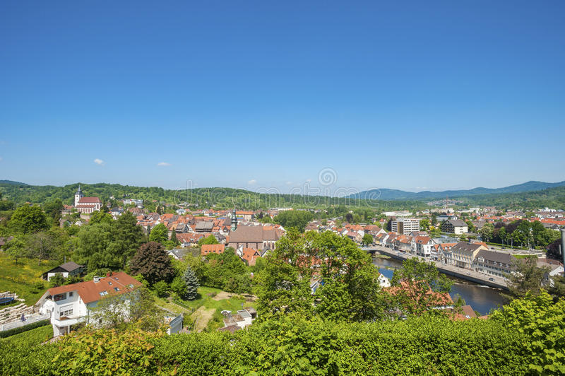 Cityscape of Gernsbach with Liebfrauenkirche and Saint Jacob Church, Black Forest, Germany, Europe royalty free stock photo