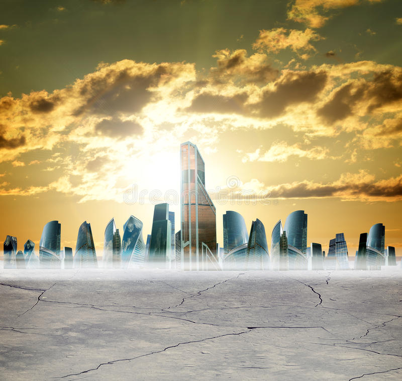 Cityscape with gold sky stock photo