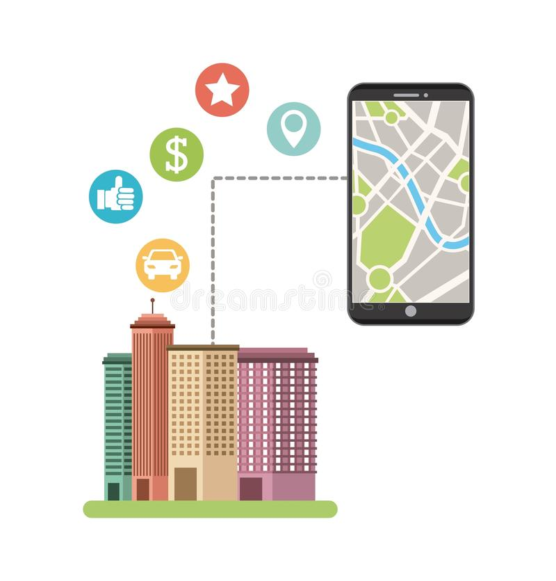 Cityscape with gps service. Illustration design stock illustration