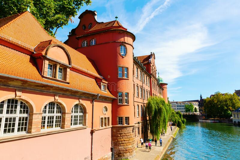 Cityscape of the Grande Ile in Strasbourg, France stock photos