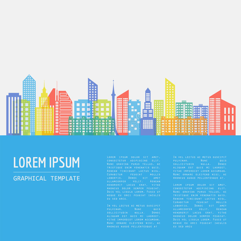 Cityscape graphic template. Modern city architecture. Vector ill vector illustration