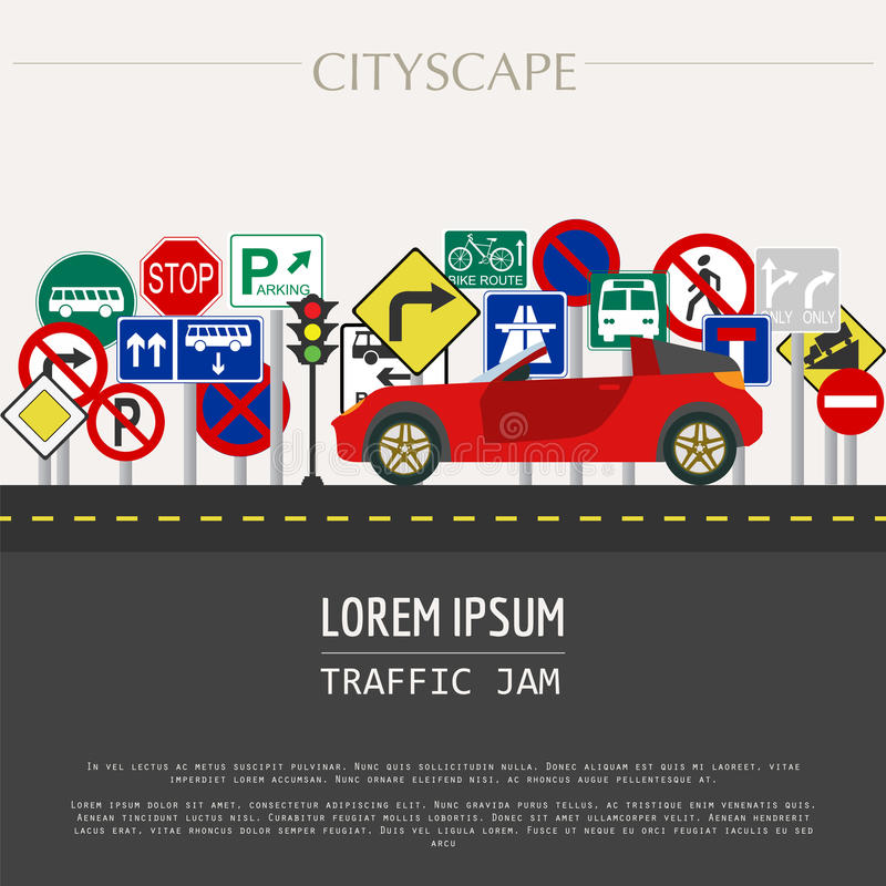 Cityscape graphic template. Modern city. Vector illustration. Tr stock illustration