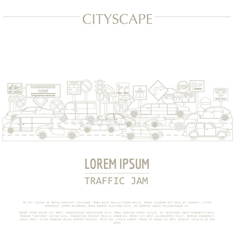 Cityscape graphic template. Modern city. Vector illustration. stock illustration