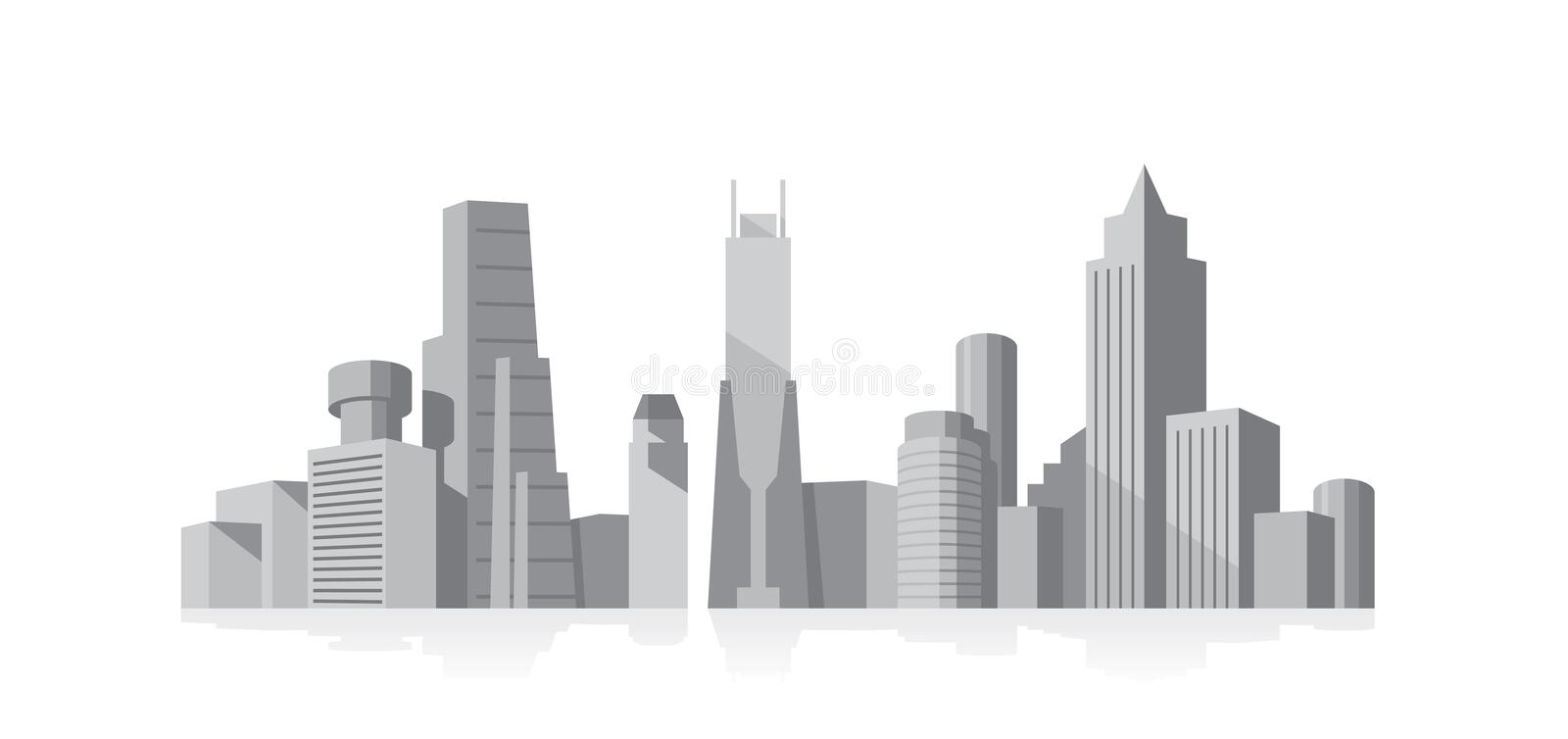 Download Cityscape grey stock vector. Illustration of back, exterior - 12668759
