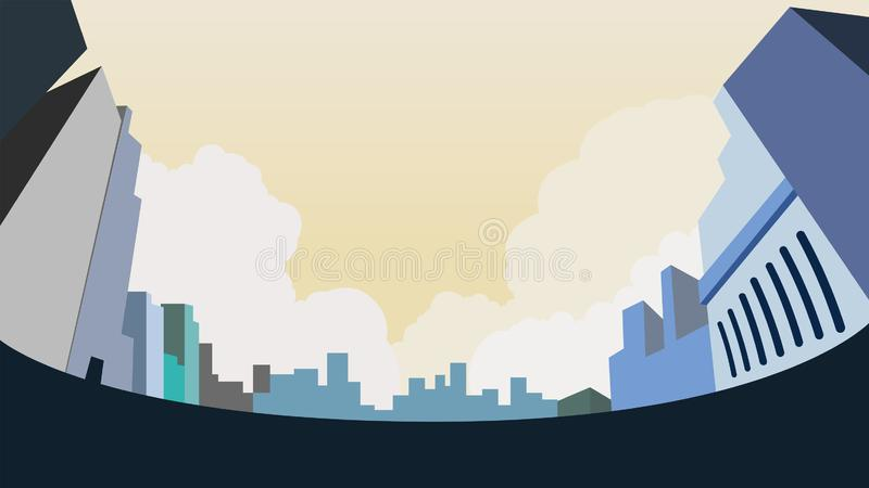 Cityscape on ground low angle view design. Vector illustration.Buidings design in city with clouds and sky background.Urban landscape royalty free illustration