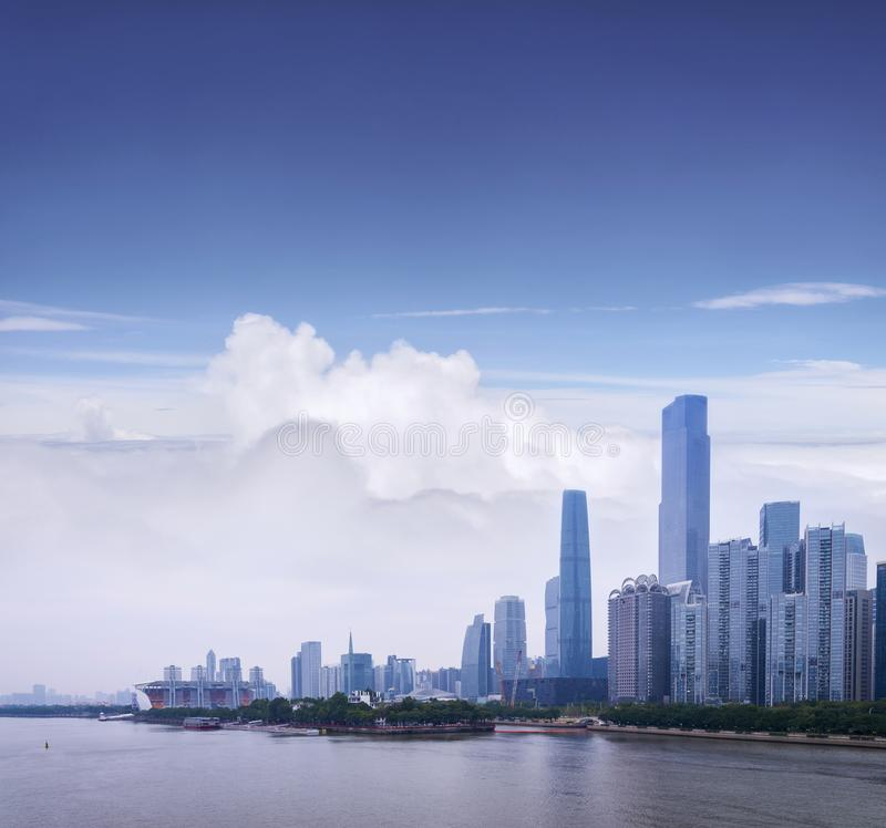 Cityscape of Guangzhou with skyscrapers and modern buildings in Zhujiang business center district, China royalty free stock photo